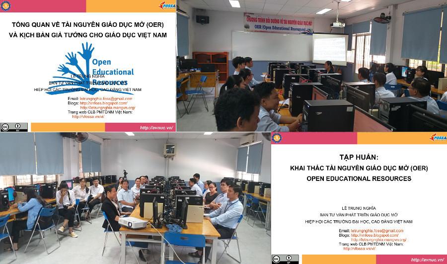 Quang cảnh lớp khai thác OER ở CĐ Kinh tế Kỹ thuật HCM, lớp 1, 26-27/11/2019