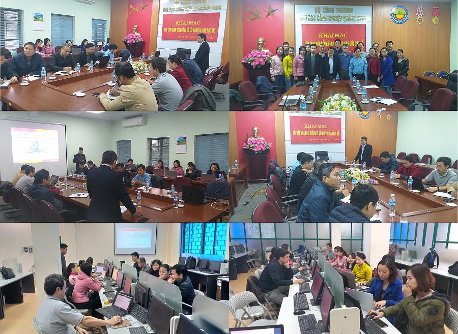 Quang cảnh lớp thực hành khai thác OER tại ĐH Công nghiệp Quảng Ninh, 21-22/12/2019