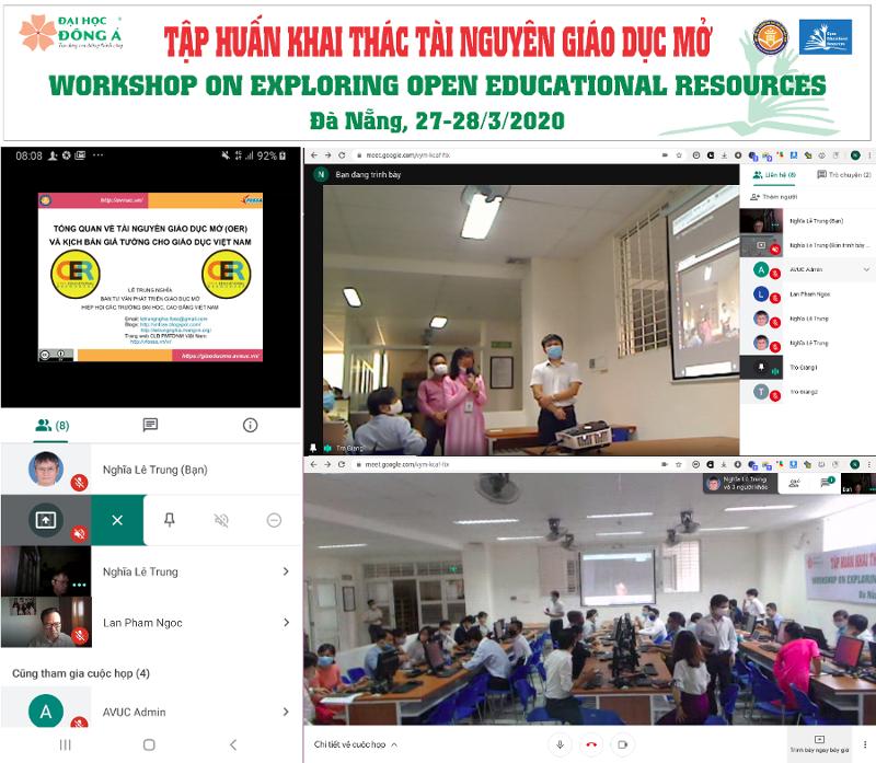 Quang cảnh khóa thực hành khai thác OER ở Đại học Đông Á sáng 27/03/2020