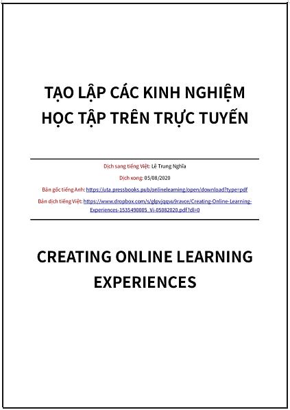 'Tạo lập các kinh nghiệm học tập trên trực tuyến' - bản dịch sang tiếng Việt