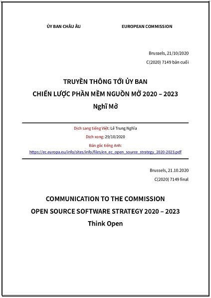Chiến lược phần mềm nguồn mở 2020-2023 của Ủy ban châu Âu: Nghĩ Mở - bản dịch sang tiếng Việt