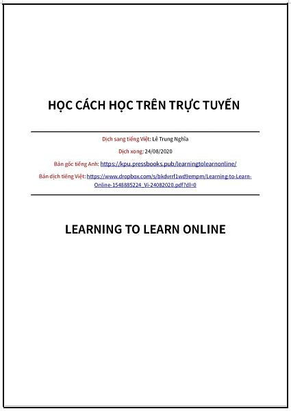 'Học cách học trên trực tuyến' - bản dịch sang tiếng Việt