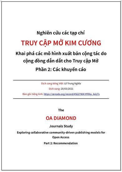 'Nghiên cứu các tạp chí Truy cập Mở kim cương - Khai phá các mô hình xuất bản cộng tác do cộng đồng dẫn dắt cho Truy cập Mở. Phần 2: Các khuyến cáo' - bản dịch sang tiếng Việt